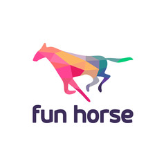 Fun Horse Running logo template designs vector illustration