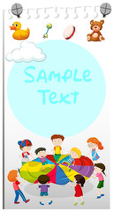 Paper template with kids playing
