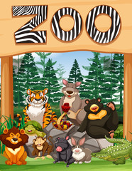 Zoo entrance with many wild animals under the sign