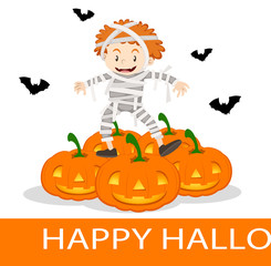 Happy Halloween poster with kid in mummy costume