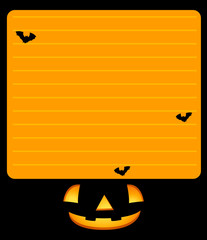 Paper template with jack-o-lantern and bats