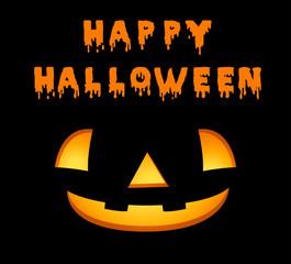 Happy halloween card template with jack-o-lantern