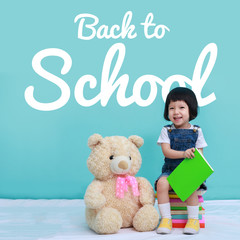 "Little baby or Little asian girl and blackboard with ""back to school"", Education concept"