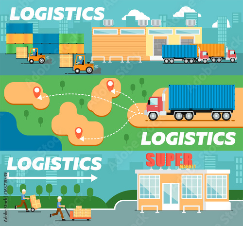 Retail logistics and distribution poster  Freight trucking