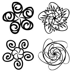 Set of flower mandalas in black and white. Hand drawn sacred geometry mandala background. Seed of life symbols. Vector.