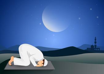 man praying full moon background