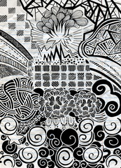Vector pattern with zentangle background. Vector ethnic pattern can be used for wallpaper, pattern fills