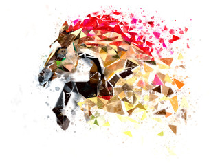 Horse low polygon in watercolor filter, multi color  Horse in action power, Active horse