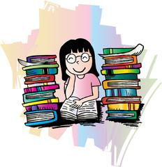 Illustrator of girl reading a book. Cartoon style.