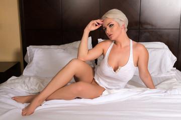 Blonde in white