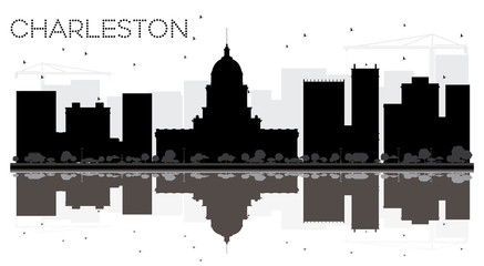 Charleston City skyline black and white silhouette with reflections.