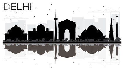 Delhi City skyline black and white silhouette with reflections.