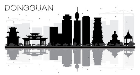 Dongguan City skyline black and white silhouette with reflections.