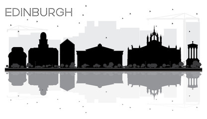 Edinburgh City skyline black and white silhouette with reflections.