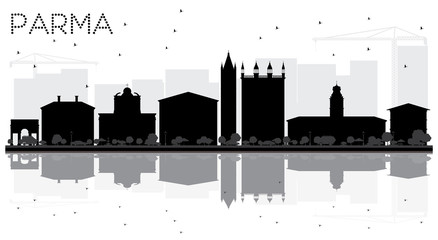 Parma City skyline black and white silhouette with reflections.