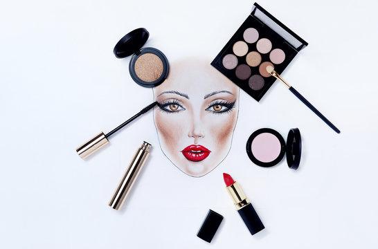 Close up beautiful face chart makeup woman drawing.