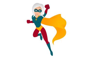 Superwoman mit weißen Haaren fliegt