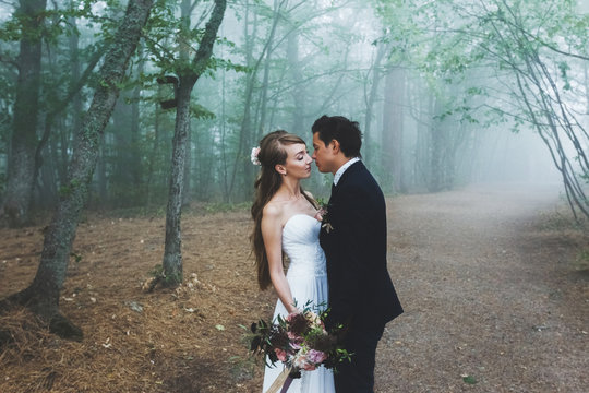 Bride and groom walking in autumn forest. Amazing autumn fog and  mystery mood. Beautiful nature around