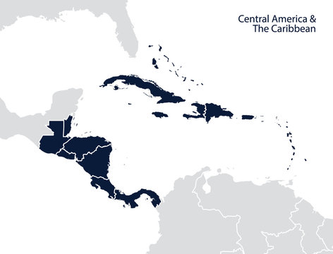 Central America and the Caribbean map
