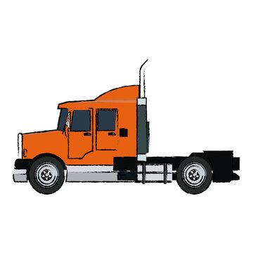 semi trailer truck transportation isolated on white background