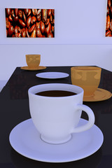 3D-Rendering einer Halle mit dunklen, spiegelnden Tischen, mit weißen und goldenen Kaffeetassen - jeweils mit Untertasse - und beleuchteten Bildern von gerösteten Kaffeebohnen an der Wand