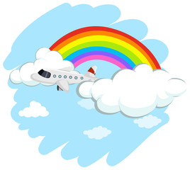 Airplane flying over the rainbow