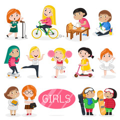 Happy girls characters in various actions