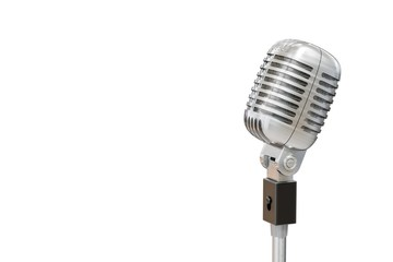 3D rendered illustration of silver retro microphone. Isolated on white background.