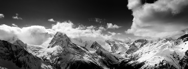 Fototapete - Black and white panorama of snow mountain at winter day