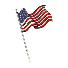 united states of american flag waving emblem