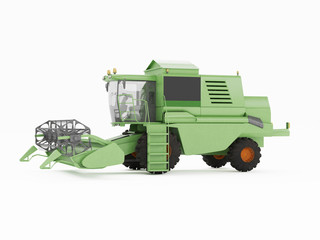 Green combine separately on a white background. 3D rendering
