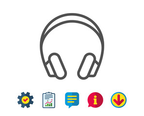 Headphones line icon. Music listening device sign. DJ or Audio symbol. Report, Service and Information line signs. Download, Speech bubble icons. Editable stroke. Vector