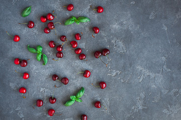 Cherry pattern. Fresh sweet cherry and basil leaves on black background. Flat lay, top view