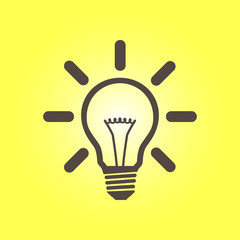 Light lamp sign icon. Idea bulb symbol. Flat design style.