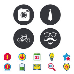 Hipster photo camera. Mustache with beard icon. Glasses and tie symbols. Bicycle sign. Calendar, Information and Download signs. Stars, Award and Book icons. Light bulb, Shield and Search. Vector