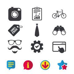 Hipster photo camera. Mustache with beard icon. Glasses and tie symbols. Bicycle sign. Browser window, Report and Service signs. Binoculars, Information and Download icons. Stars and Chat. Vector