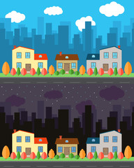 Vector city with three cartoon houses in the day and night. Summer urban landscape. Street view with cityscape on a background