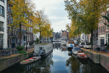 The canal Groenburgwal in the old center of Amsterdam