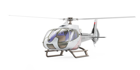 Helicopter isolated on the white background. 3D rendering, front view