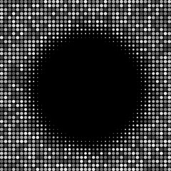banner circle grey round transparency. abstract poster points. black background. halftone effect. monochrome texture. vector illustration