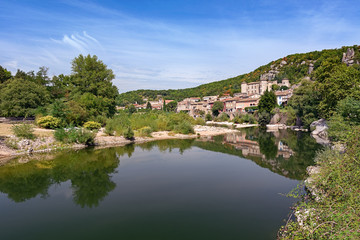 River Ardeche along the old town Vogue