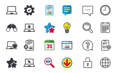 Notebook laptop pc icons. Virus or software bug signs. Shield protection symbol. Mouse cursor pointer. Chat, Report and Calendar signs. Stars, Statistics and Download icons. Question, Clock and Globe
