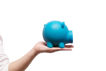 Hand holding piggy bank on isolated white background with clipping path