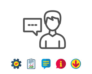 User communication line icon. Male Person with chat speech bubble sign. Human silhouette symbol. Report, Service and Information line signs. Download, Speech bubble icons. Editable stroke. Vector