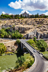 Panoramic view of Toledo Spain on a summer day