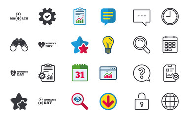8 March Women's Day icons. Tulips or rose flowers bouquet and heart sign symbols. Chat, Report and Calendar signs. Stars, Statistics and Download icons. Question, Clock and Globe. Vector