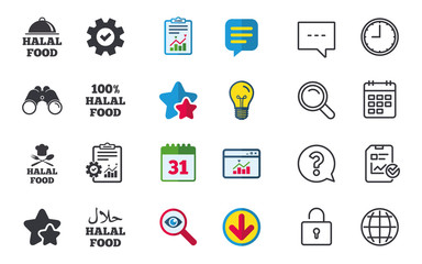 Halal food icons. 100% natural meal symbols. Chef hat with spoon and fork sign. Natural muslims food. Chat, Report and Calendar signs. Stars, Statistics and Download icons. Question, Clock and Globe