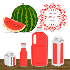 Abstract vector illustration logo whole ripe red fruit watermelon.