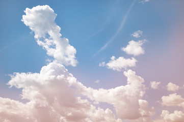 White fluffy clouds background. Sunny.
