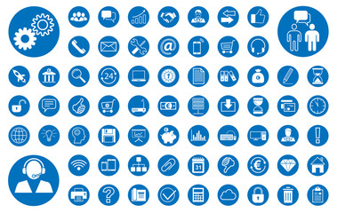Business BIG Iconset - Blau in Weiß (Kreis)
